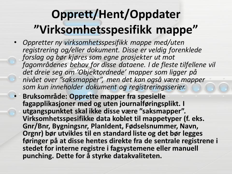 """Opprett/Hent/Oppdater """"Virksomhetsspesifikk mappe"""" Oppretter ny virksomhetsspesifikk mappe med/uten registrering og/eller dokument. Disse er veldig fo"""