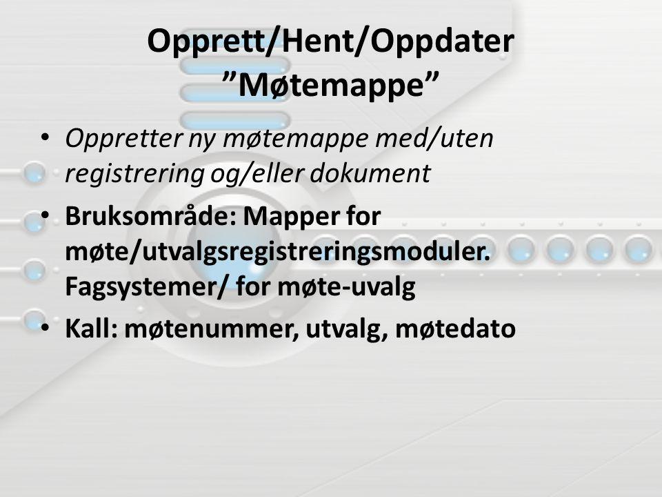 """Opprett/Hent/Oppdater """"Møtemappe"""" Oppretter ny møtemappe med/uten registrering og/eller dokument Bruksområde: Mapper for møte/utvalgsregistreringsmodu"""