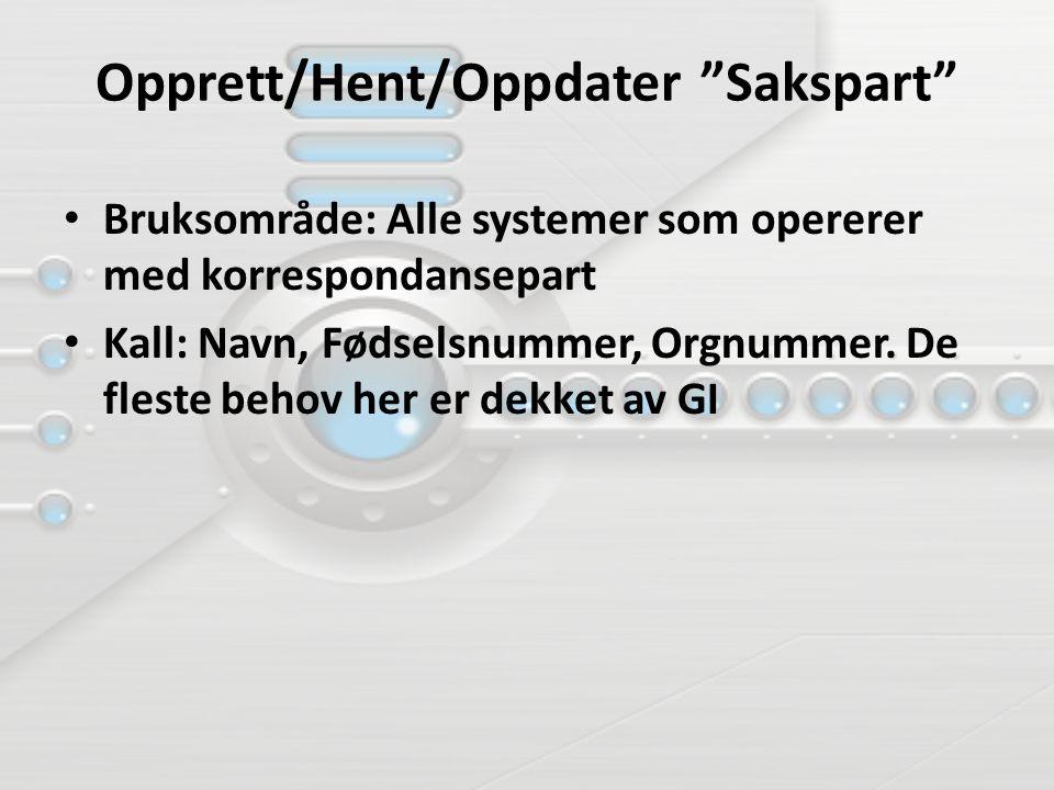 """Opprett/Hent/Oppdater """"Sakspart"""" Bruksområde: Alle systemer som opererer med korrespondansepart Kall: Navn, Fødselsnummer, Orgnummer. De fleste behov"""
