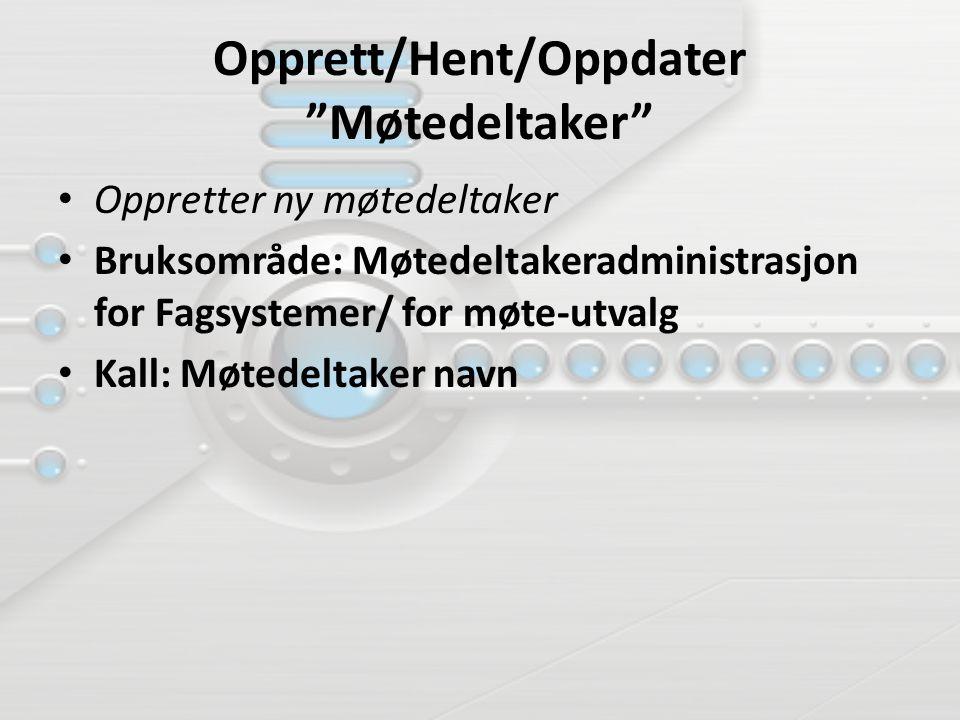 """Opprett/Hent/Oppdater """"Møtedeltaker"""" Oppretter ny møtedeltaker Bruksområde: Møtedeltakeradministrasjon for Fagsystemer/ for møte-utvalg Kall: Møtedelt"""