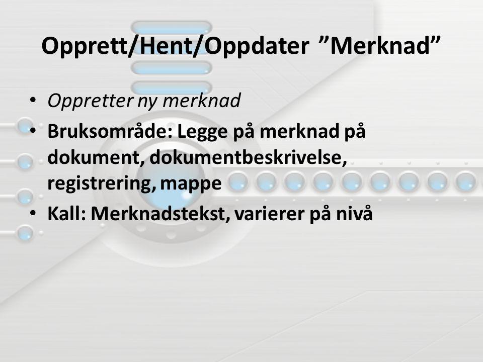 Opprett/Hent/Oppdater Merknad Oppretter ny merknad Bruksområde: Legge på merknad på dokument, dokumentbeskrivelse, registrering, mappe Kall: Merknadstekst, varierer på nivå