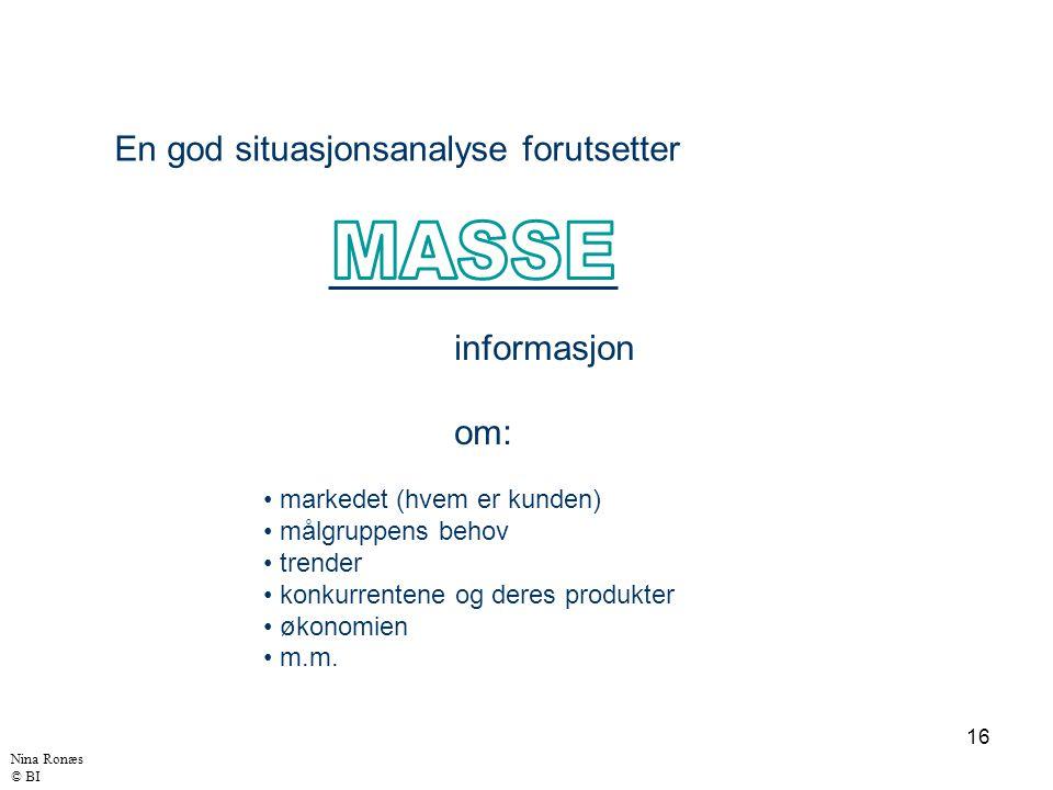 16 En god situasjonsanalyse forutsetter Nina Ronæs © BI informasjon om: markedet (hvem er kunden) målgruppens behov trender konkurrentene og deres produkter økonomien m.m.
