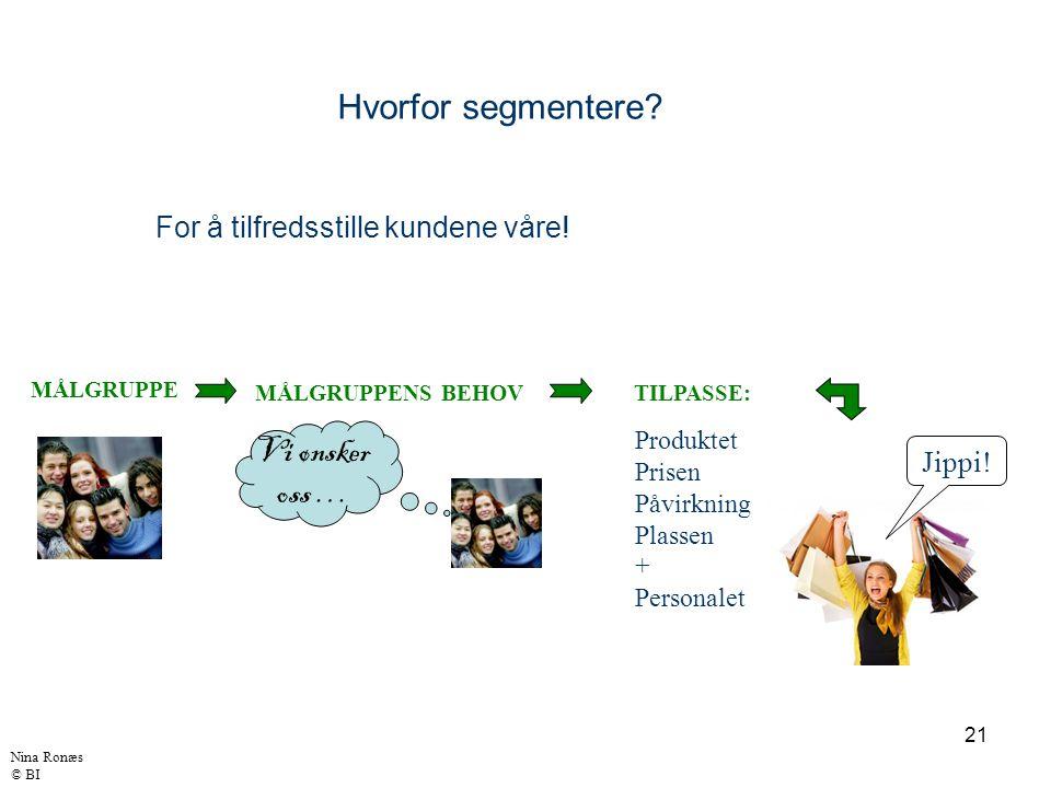 21 For å tilfredsstille kundene våre! Hvorfor segmentere? MÅLGRUPPE MÅLGRUPPENS BEHOV Vi ønsker oss … TILPASSE: Produktet Prisen Påvirkning Plassen +