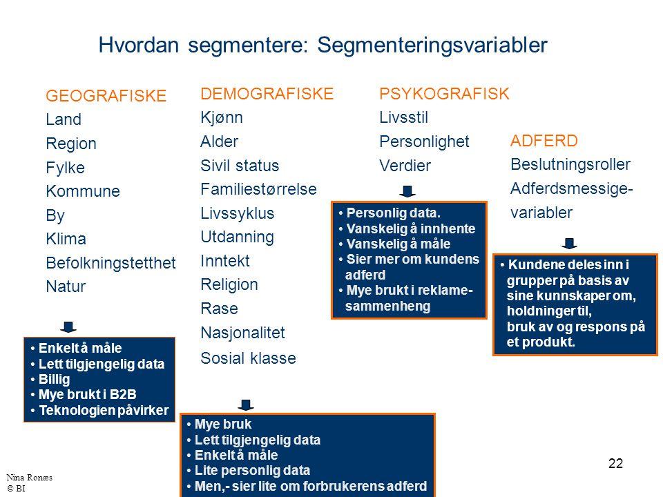 22 Hvordan segmentere: Segmenteringsvariabler DEMOGRAFISKE Kjønn Alder Sivil status Familiestørrelse Livssyklus Utdanning Inntekt Religion Rase Nasjon