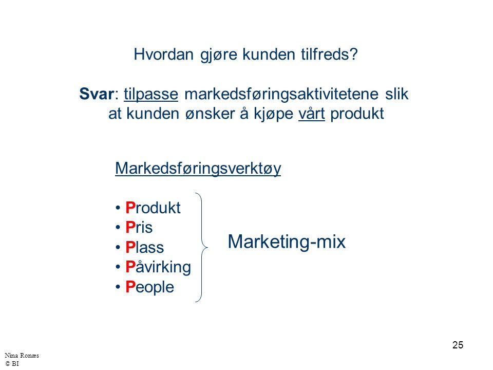 25 Hvordan gjøre kunden tilfreds? Svar: tilpasse markedsføringsaktivitetene slik at kunden ønsker å kjøpe vårt produkt Markedsføringsverktøy Produkt P