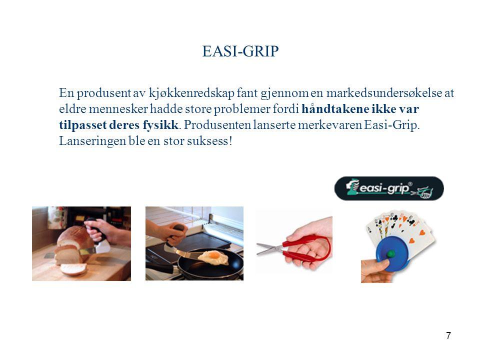 7 EASI-GRIP En produsent av kjøkkenredskap fant gjennom en markedsundersøkelse at eldre mennesker hadde store problemer fordi håndtakene ikke var tilpasset deres fysikk.