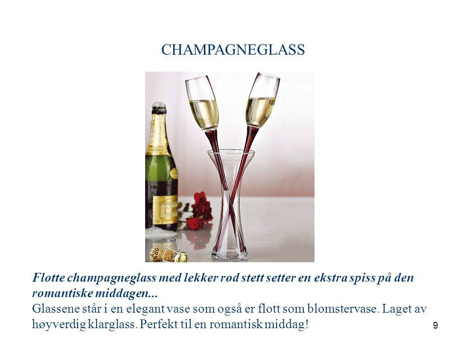 9 CHAMPAGNEGLASS Flotte champagneglass med lekker rød stett setter en ekstra spiss på den romantiske middagen... Glassene står i en elegant vase som o