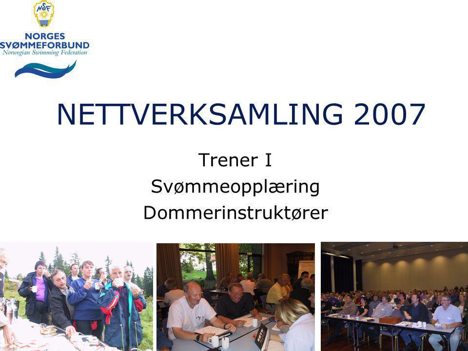 NETTVERKSAMLING 2007 Trener I Svømmeopplæring Dommerinstruktører