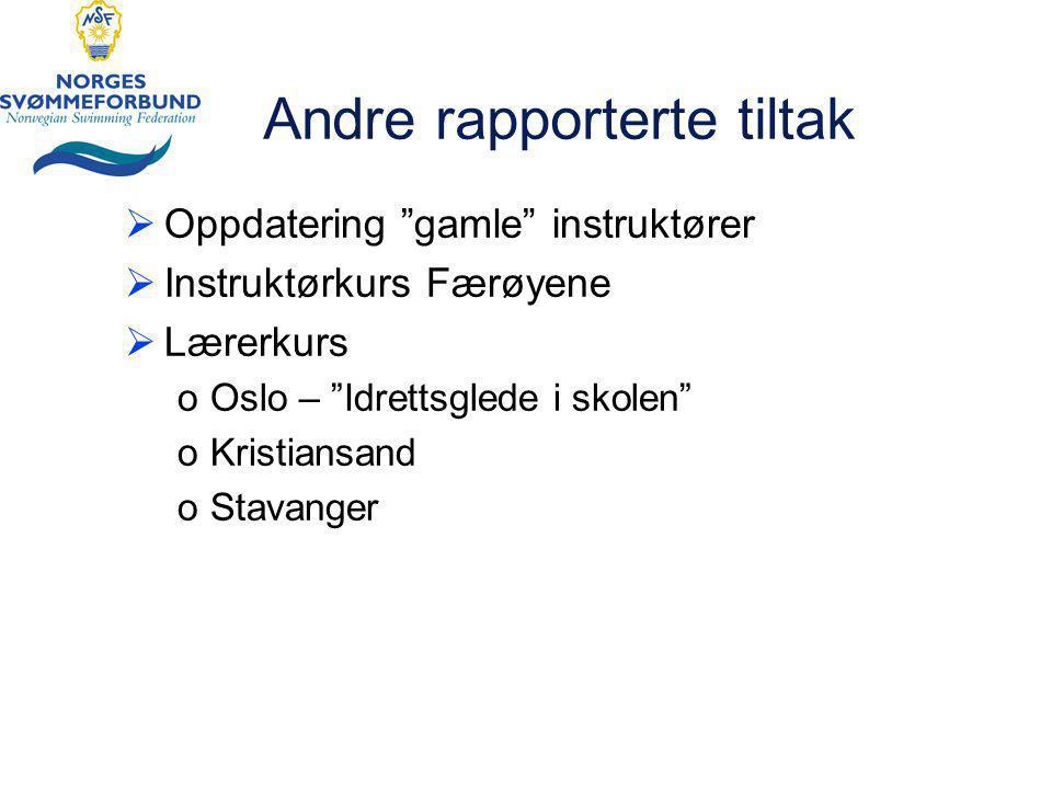 Andre rapporterte tiltak  Oppdatering gamle instruktører  Instruktørkurs Færøyene  Lærerkurs oOslo – Idrettsglede i skolen oKristiansand oStavanger