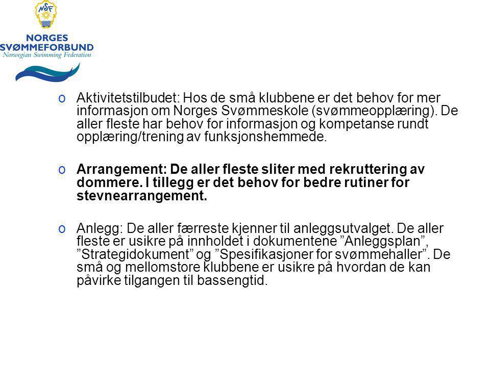 oAktivitetstilbudet: Hos de små klubbene er det behov for mer informasjon om Norges Svømmeskole (svømmeopplæring).