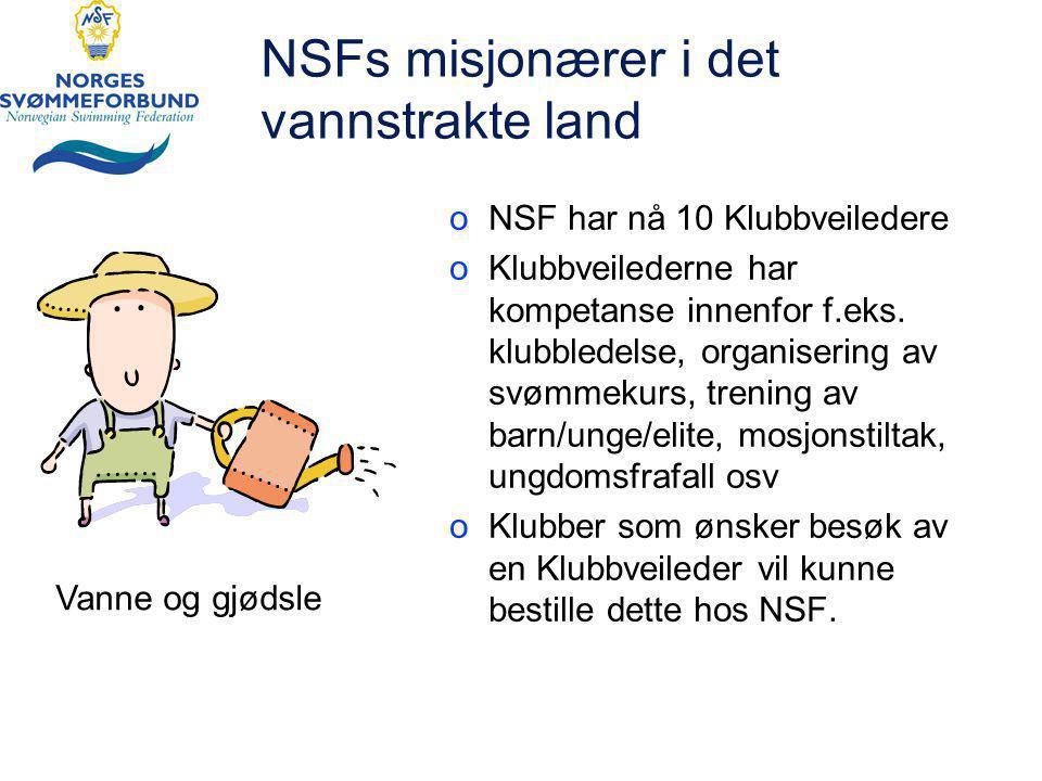 NSFs misjonærer i det vannstrakte land oNSF har nå 10 Klubbveiledere oKlubbveilederne har kompetanse innenfor f.eks.