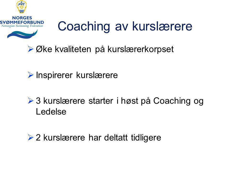 Coaching av kurslærere  Øke kvaliteten på kurslærerkorpset  Inspirerer kurslærere  3 kurslærere starter i høst på Coaching og Ledelse  2 kurslærere har deltatt tidligere