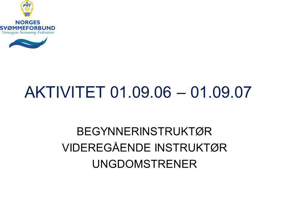 AKTIVITET 01.09.06 – 01.09.07 BEGYNNERINSTRUKTØR VIDEREGÅENDE INSTRUKTØR UNGDOMSTRENER