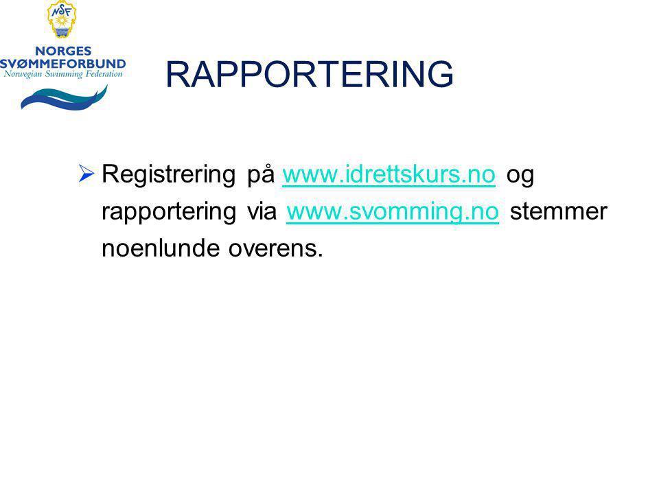 RAPPORTERING  Registrering på www.idrettskurs.no ogwww.idrettskurs.no rapportering via www.svomming.no stemmerwww.svomming.no noenlunde overens.