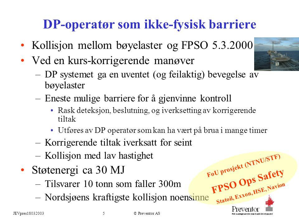JEVpres180320035 © Preventor AS DP-operatør som ikke-fysisk barriere Kollisjon mellom bøyelaster og FPSO 5.3.2000 Ved en kurs-korrigerende manøver –DP systemet ga en uventet (og feilaktig) bevegelse av bøyelaster –Eneste mulige barriere for å gjenvinne kontroll Rask deteksjon, beslutning, og iverksetting av korrigerende tiltak Utføres av DP operatør som kan ha vært på brua i mange timer –Korrigerende tiltak iverksatt for seint –Kollisjon med lav hastighet Støtenergi ca 30 MJ –Tilsvarer 10 tonn som faller 300m –Nordsjøens kraftigste kollisjon noensinne FoU prosjekt (NTNU/STF) FPSO Ops Safety Statoil, Exxon, HSE, Navion