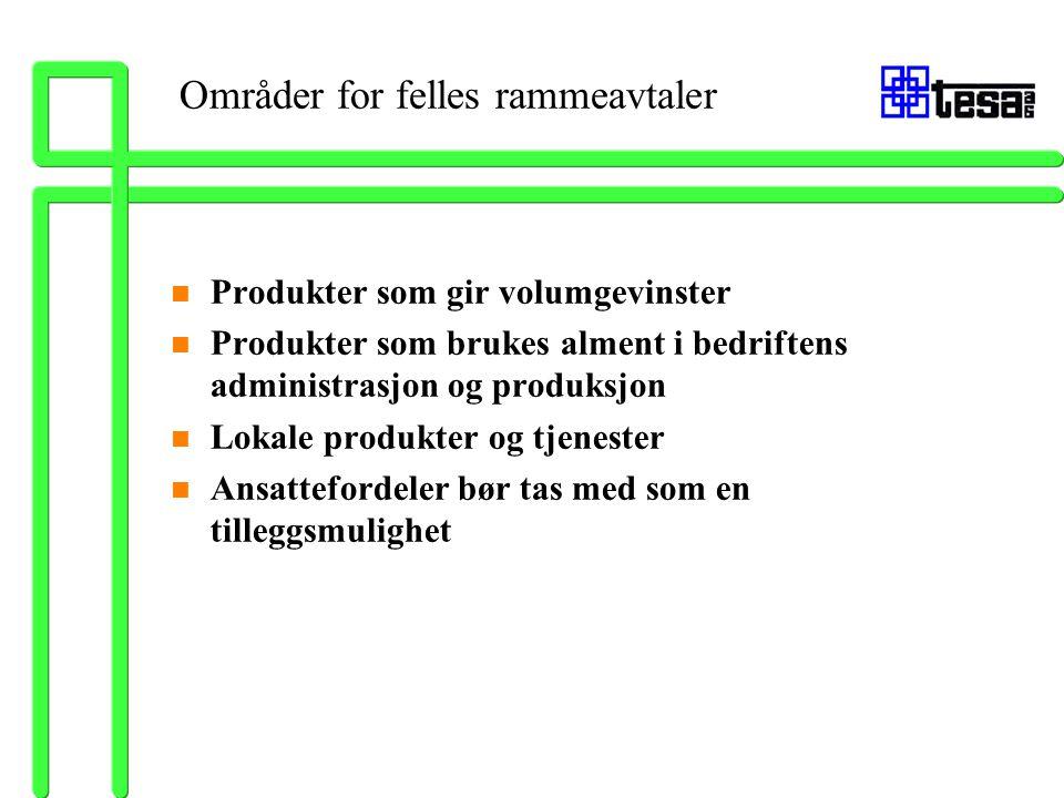 Områder for felles rammeavtaler n Produkter som gir volumgevinster n Produkter som brukes alment i bedriftens administrasjon og produksjon n Lokale pr