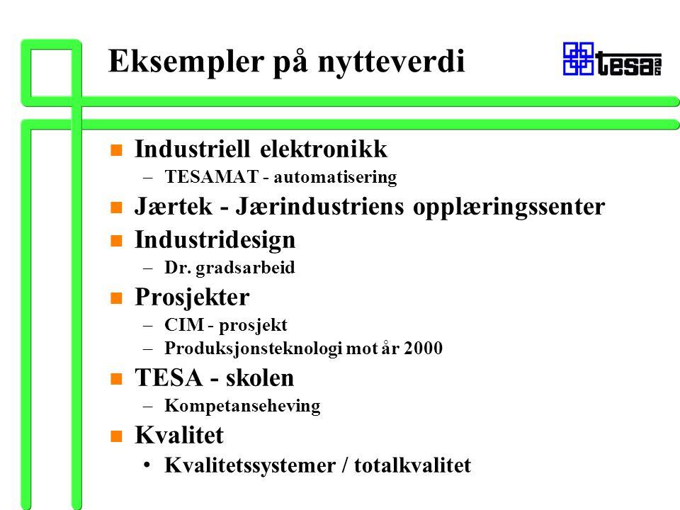 Eksempler på nytteverdi n Industriell elektronikk –TESAMAT - automatisering n Jærtek - Jærindustriens opplæringssenter n Industridesign –Dr. gradsarbe