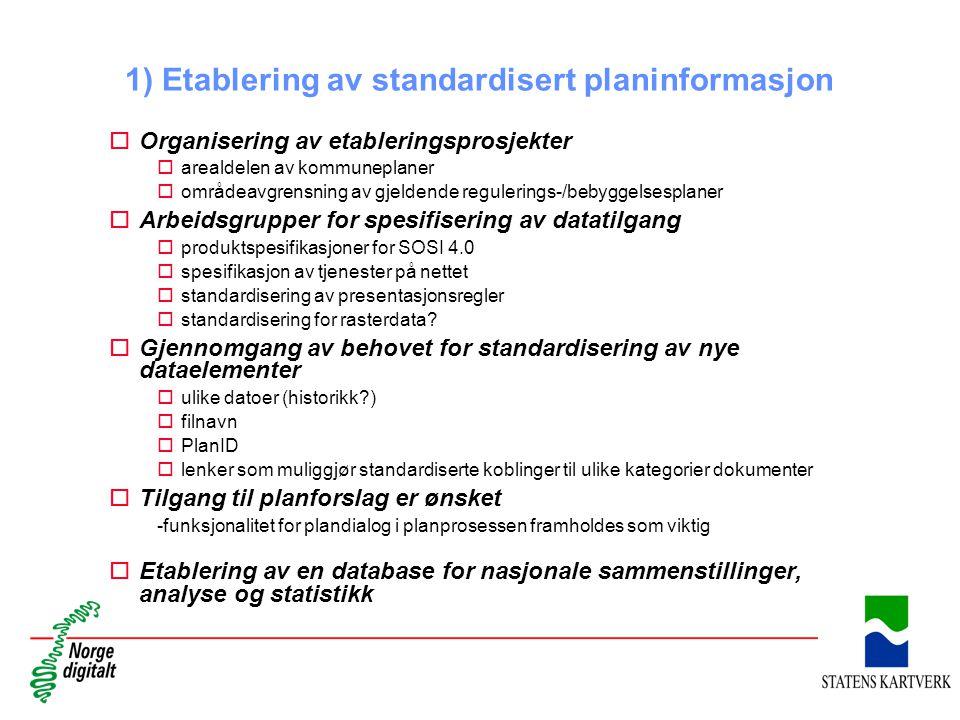 1) Etablering av standardisert planinformasjon oOrganisering av etableringsprosjekter oarealdelen av kommuneplaner oområdeavgrensning av gjeldende reg