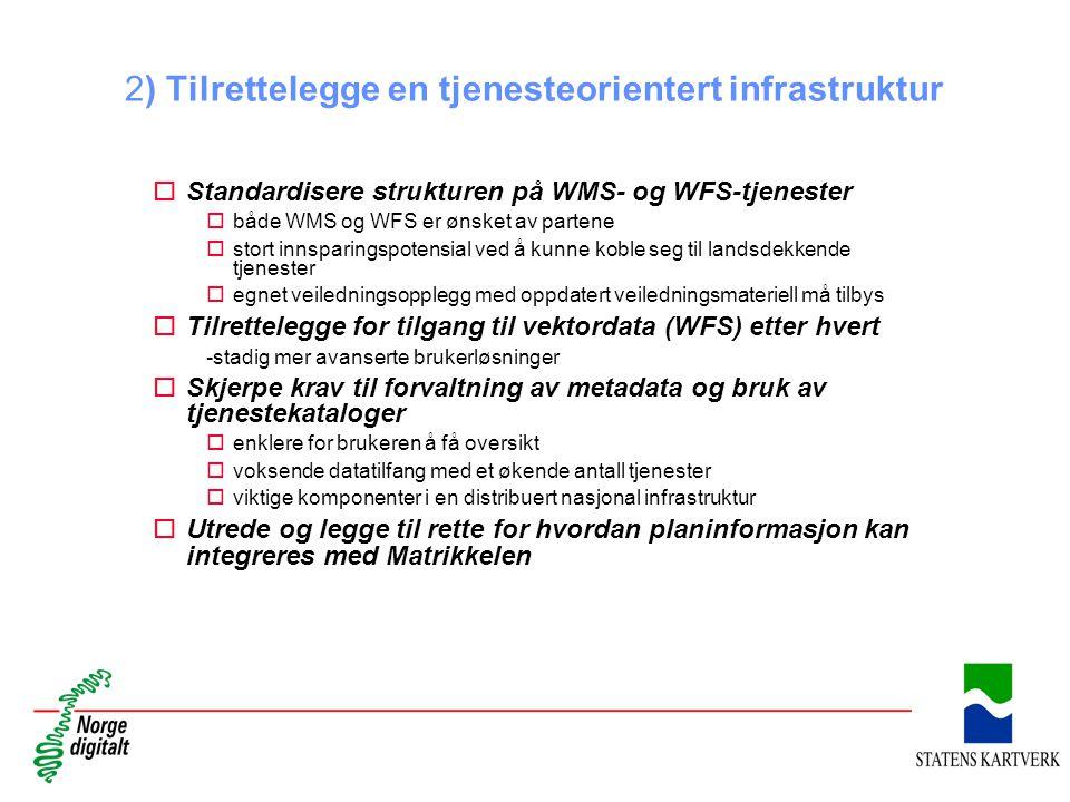2) Tilrettelegge en tjenesteorientert infrastruktur oStandardisere strukturen på WMS- og WFS-tjenester obåde WMS og WFS er ønsket av partene ostort in