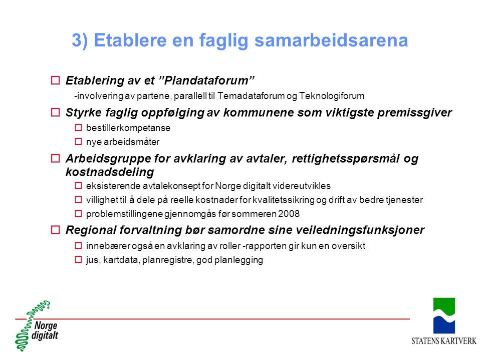 """3) Etablere en faglig samarbeidsarena oEtablering av et """"Plandataforum"""" -involvering av partene, parallell til Temadataforum og Teknologiforum oStyrke"""
