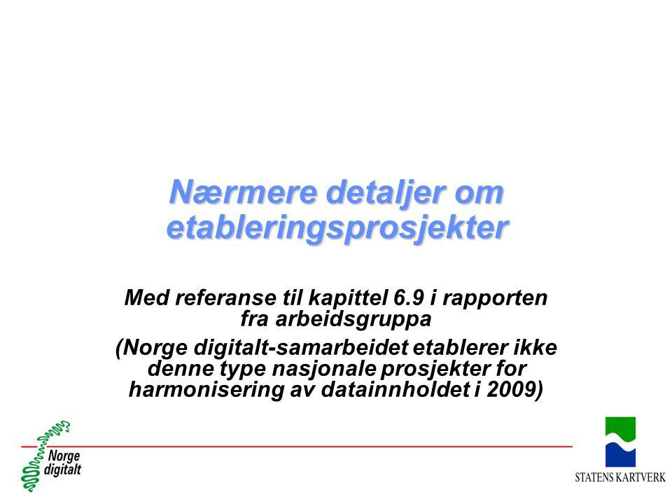 Nærmere detaljer om etableringsprosjekter Med referanse til kapittel 6.9 i rapporten fra arbeidsgruppa (Norge digitalt-samarbeidet etablerer ikke denn