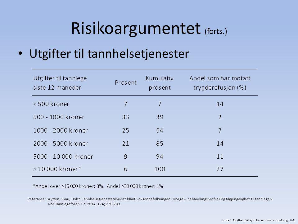 Risikoargumentet (forts.) Utgifter til tannhelsetjenester Referanse: Grytten, Skau, Holst. Tannhelsetjenestetilbudet blant voksenbefolkningen i Norge