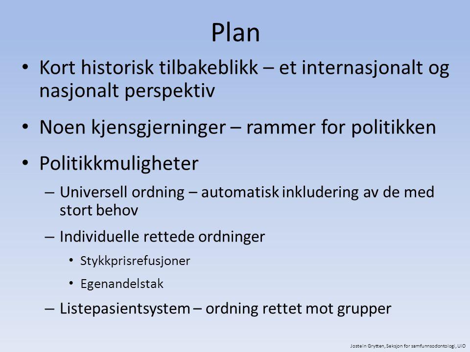 Internasjonalt tilbakeblikk – årsaker for ikke å gå til tannlegen 1984 Jostein Grytten, Seksjon for samfunnsodontologi, UiO