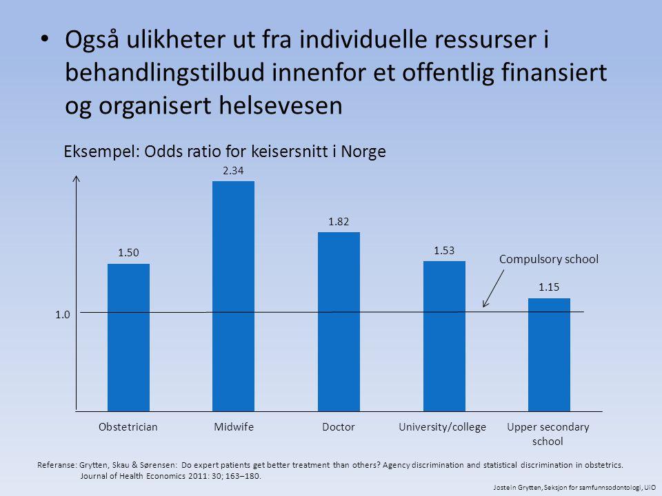 Også ulikheter ut fra individuelle ressurser i behandlingstilbud innenfor et offentlig finansiert og organisert helsevesen Eksempel: Odds ratio for ke