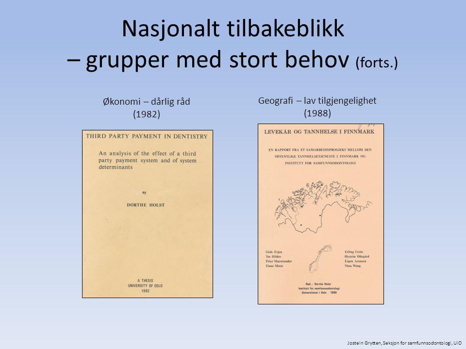 Nasjonalt tilbakeblikk – grupper med stort behov (forts.) Økonomi – dårlig råd (1982) Geografi – lav tilgjengelighet (1988) Jostein Grytten, Seksjon for samfunnsodontologi, UiO