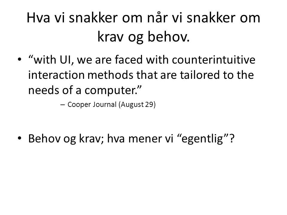"Hva vi snakker om når vi snakker om krav og behov. ""with UI, we are faced with counterintuitive interaction methods that are tailored to the needs of"