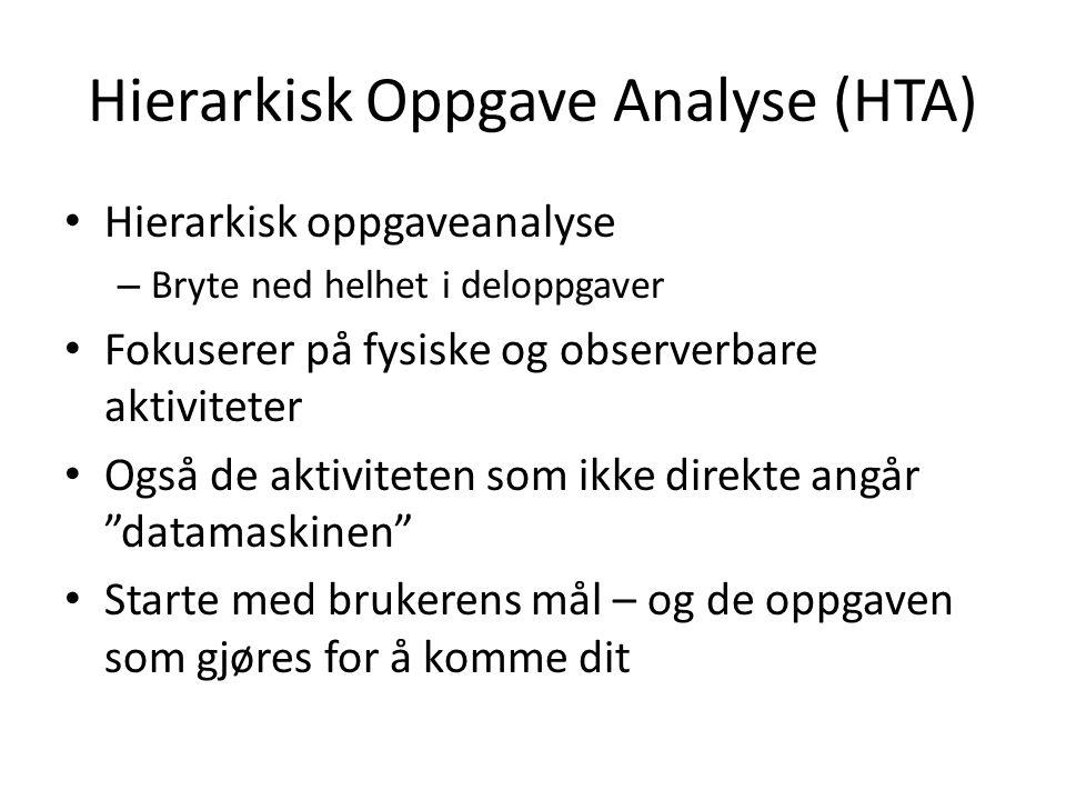 Hierarkisk Oppgave Analyse (HTA) Hierarkisk oppgaveanalyse – Bryte ned helhet i deloppgaver Fokuserer på fysiske og observerbare aktiviteter Også de a