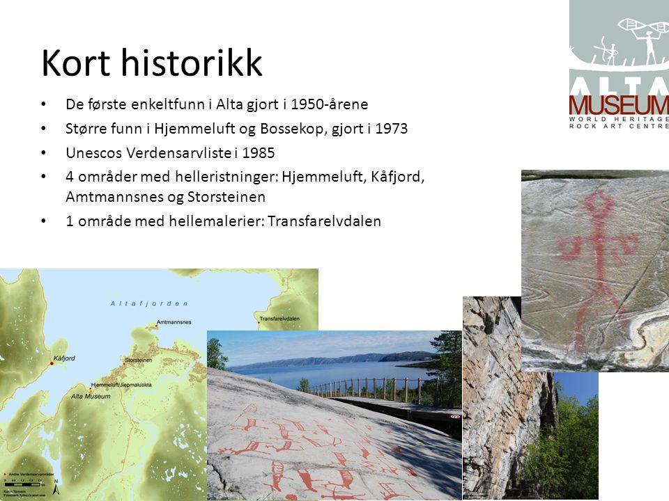 Kort historikk De første enkeltfunn i Alta gjort i 1950-årene Større funn i Hjemmeluft og Bossekop, gjort i 1973 Unescos Verdensarvliste i 1985 4 områ
