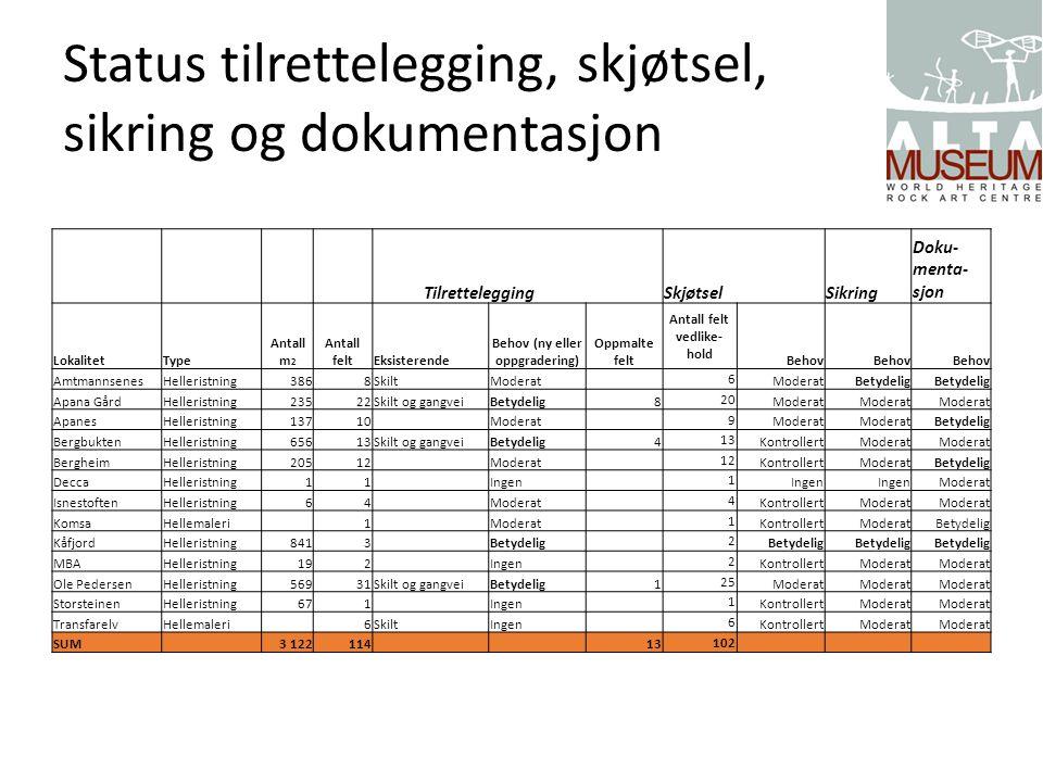 Status tilrettelegging, skjøtsel, sikring og dokumentasjon Tilrettelegging Skjøtsel Sikring Doku- menta- sjon LokalitetType Antall m 2 Antall feltEksi