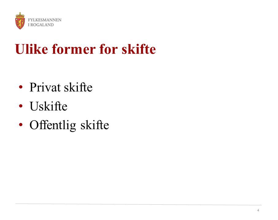 4 Ulike former for skifte Privat skifte Uskifte Offentlig skifte