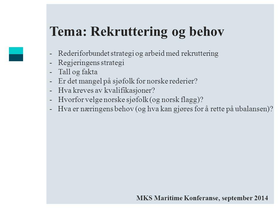 Tema: Rekruttering og behov -Rederiforbundet strategi og arbeid med rekruttering -Regjeringens strategi -Tall og fakta -Er det mangel på sjøfolk for n