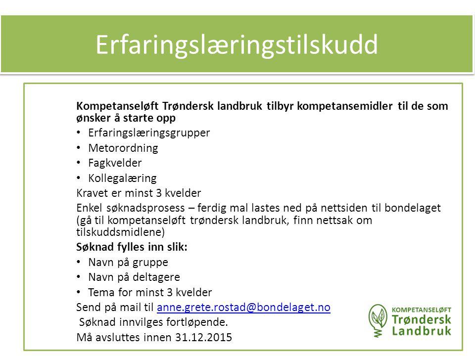 Kompetanseløft Trøndersk landbruk tilbyr kompetansemidler til de som ønsker å starte opp Erfaringslæringsgrupper Metorordning Fagkvelder Kollegalæring