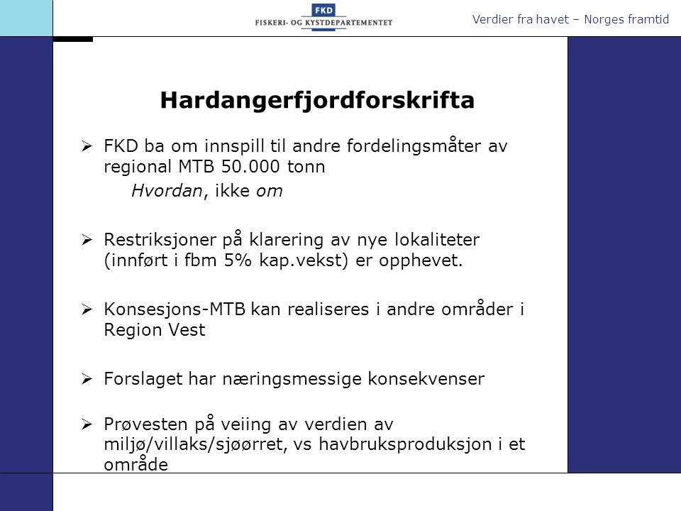 Verdier fra havet – Norges framtid Hardangerfjordforskrifta  FKD ba om innspill til andre fordelingsmåter av regional MTB 50.000 tonn Hvordan, ikke o