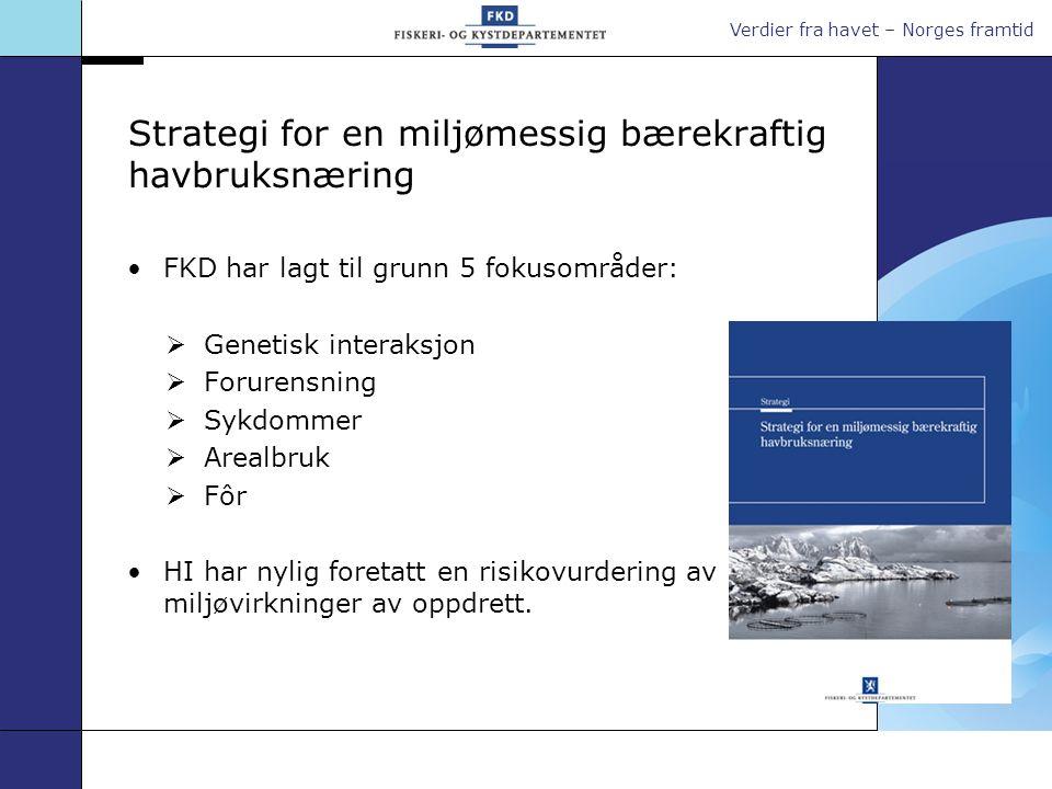 Verdier fra havet – Norges framtid Strategi for en miljømessig bærekraftig havbruksnæring FKD har lagt til grunn 5 fokusområder:  Genetisk interaksjo