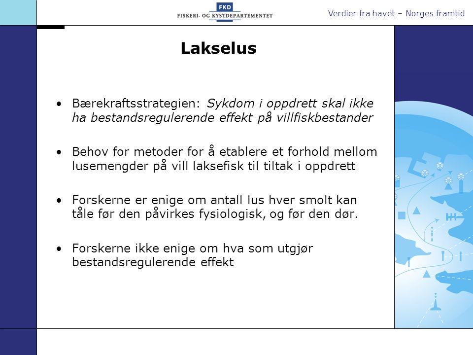 Verdier fra havet – Norges framtid Lakselus Bærekraftsstrategien: Sykdom i oppdrett skal ikke ha bestandsregulerende effekt på villfiskbestander Behov