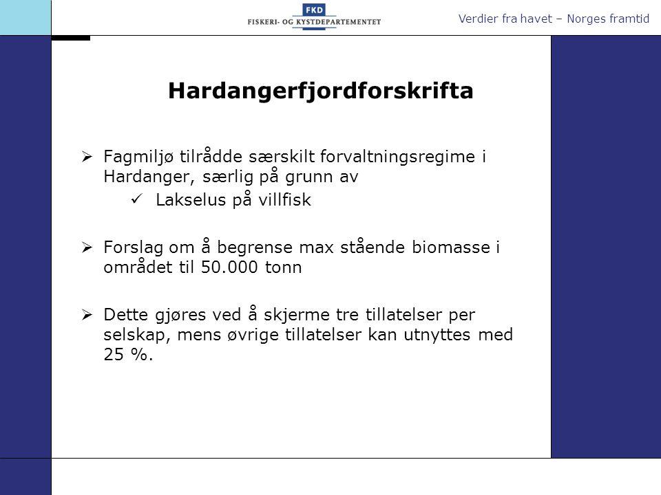 Verdier fra havet – Norges framtid Hardangerfjordforskrifta  Fagmiljø tilrådde særskilt forvaltningsregime i Hardanger, særlig på grunn av Lakselus p