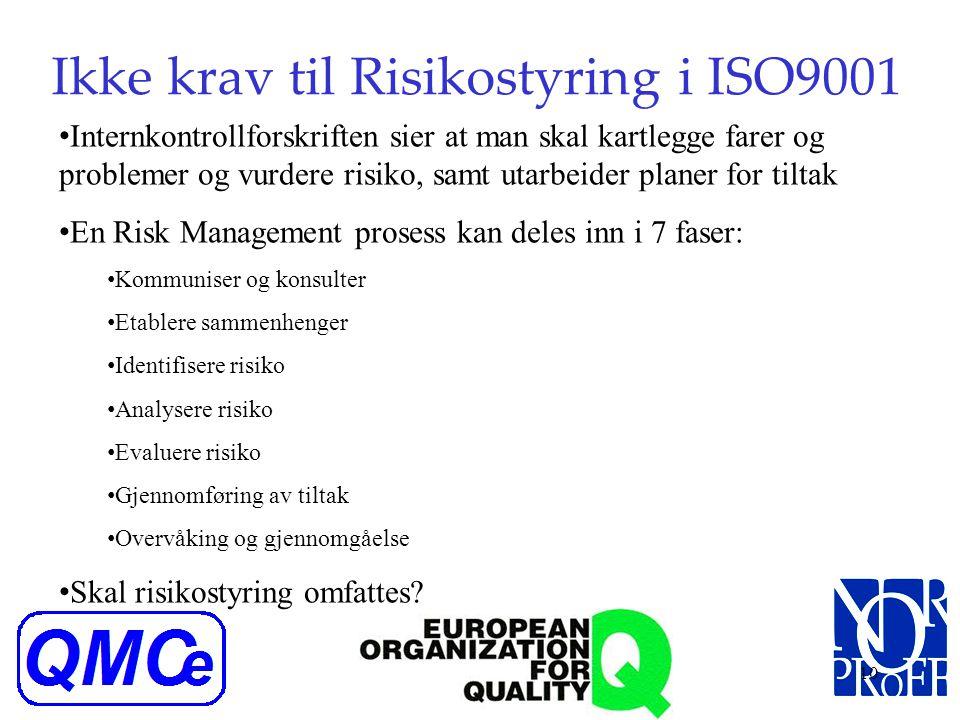 9 Krav til dokumentasjon iht ISO9001 Kvalitetspolitikk og kvalitetsmål En kvalitetshåndbok Dokumentere prosedyrer og registreringer som kreves i ISO90