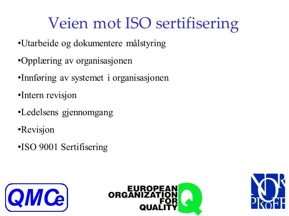 12 Veien mot ISO sertifisering Oppstartsprosessen, nøkkelpersoner, tidsramme Definere styringssystemets struktur/valg av software Etablering av kvalit