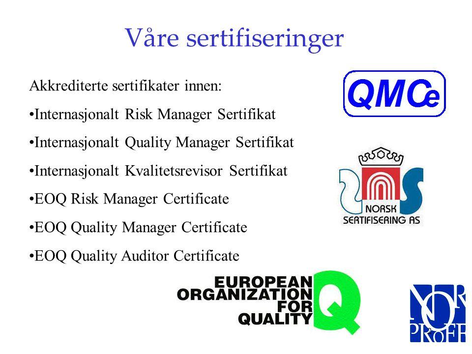 1 SAMARBEIDSPARTNER FOR VEIEN FREM MOT ISO SERTIFISERING IHT. 9001 STANDARDEN N O R P R O F F Quality Management