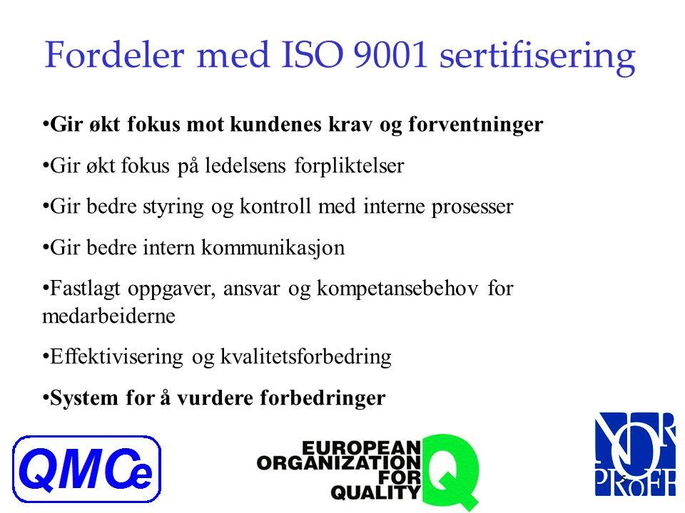 4 Prinsipper kvalitetsstyring ISO 9001 Kundefokus (kundens krav og behov skal tilfredsstilles) Lederskap (skape felles idegrunnlag, moral og kvalitets