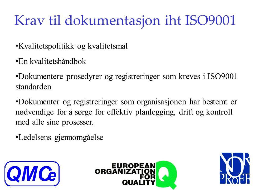 8 Organisasjonen skal iht ISO9001 Bestemme nødvendige prosesser i kvalitetsstyringen Bestemme rekkefølge og hvordan prosessene påvirker hverandre Best