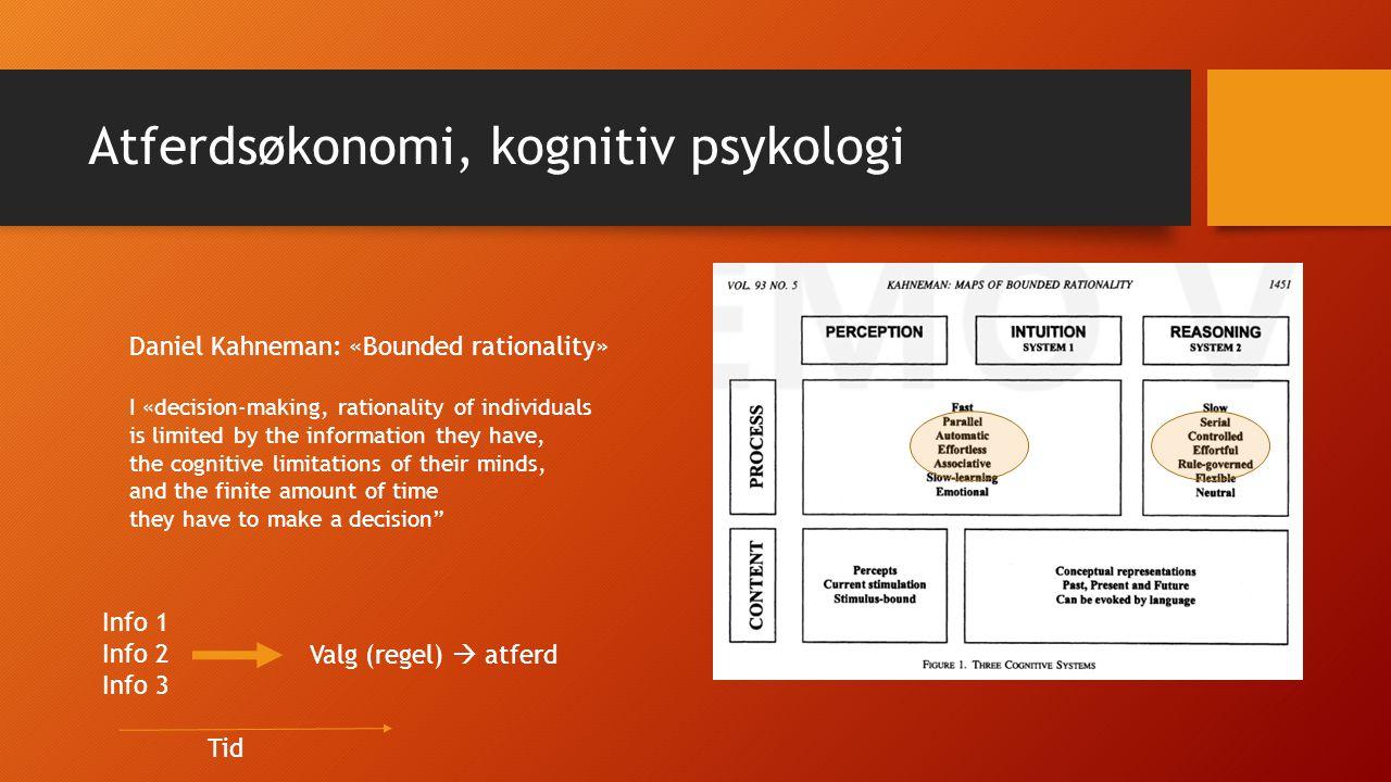Kognitiv psykologi Regel  handling Gjennomføring Eksempel 1: Rasjonalitet (regel  handling) Er våre handlinger og valg en konsekvens av regler, eller handler vi «på intuisjonen».