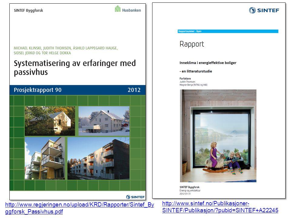 http://www.regjeringen.no/upload/KRD/Rapporter/Sintef_By ggforsk_Passivhus.pdf http://www.sintef.no/Publikasjoner- SINTEF/Publikasjon/ pubid=SINTEF+A22245