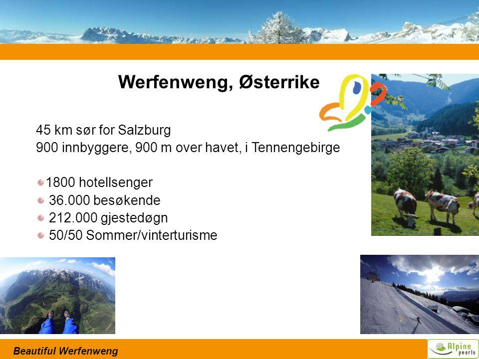 Beautiful Werfenweng 45 km sør for Salzburg 900 innbyggere, 900 m over havet, i Tennengebirge 1800 hotellsenger 36.000 besøkende 212.000 gjestedøgn 50/50 Sommer/vinterturisme Werfenweng, Østerrike