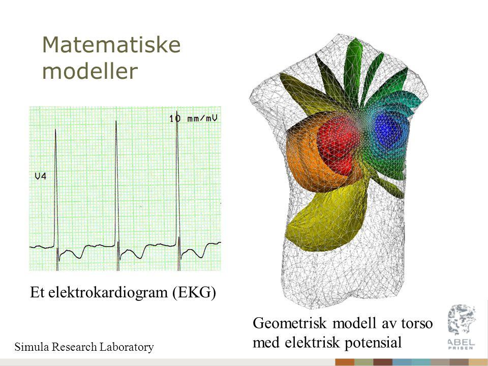 Matematiske modeller Geometrisk modell av torso med elektrisk potensial Et elektrokardiogram (EKG) Simula Research Laboratory
