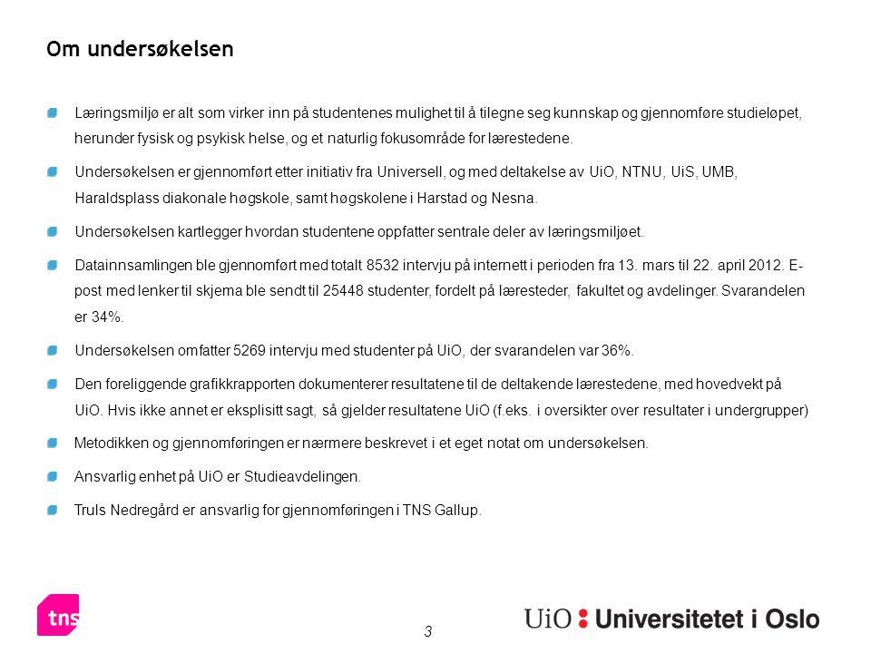 4 Basestørrelser Tabellene viser antall spurte per lærested og i undergrupper på UiO.